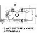 Emaux 5-way butterfly valve system