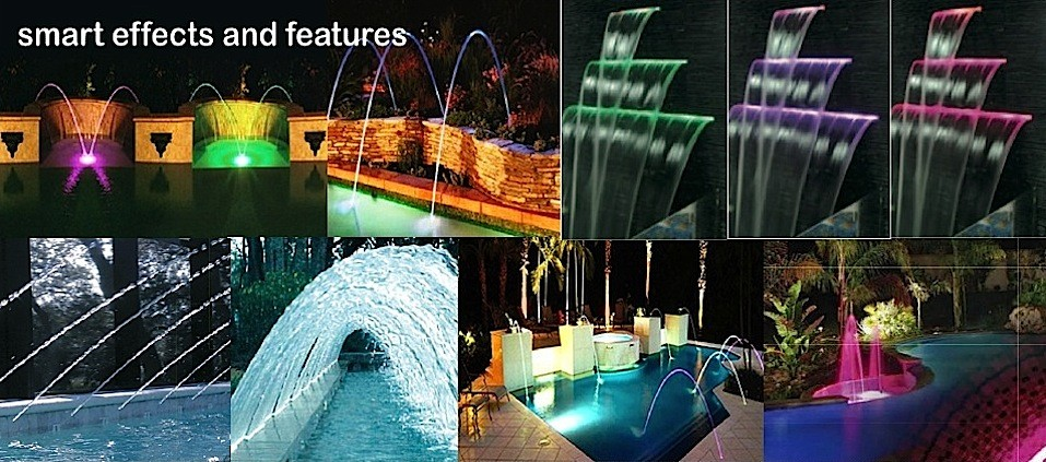 Water features, waterfalls, fountains, amusement effects